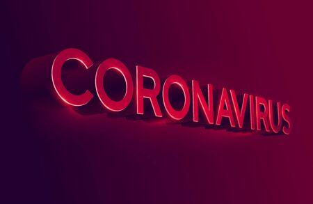 Coronavirus Covid-19 typography design. Red inscription on dark Stock Illustratie