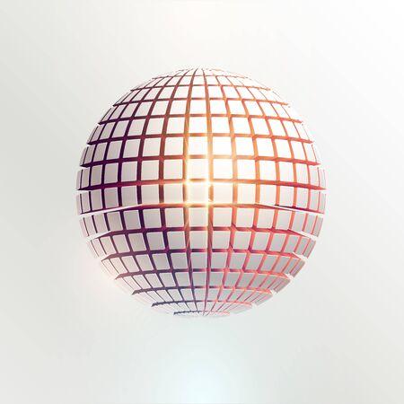 3D White ball. Art geometric primitive