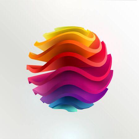 3D colored striped ball. Art geometric primitive