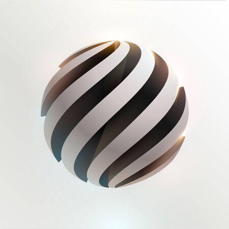 3D white and black ball. Art geometric primitive Stock Illustratie