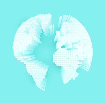 White 3D earth map on blue background