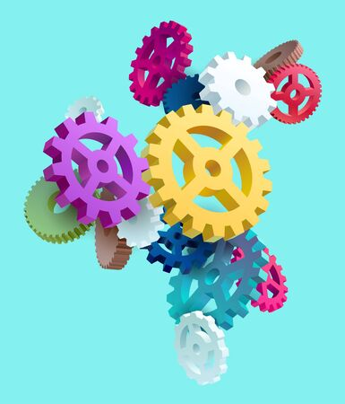 Abstract composition of colored gears Stock Illustratie