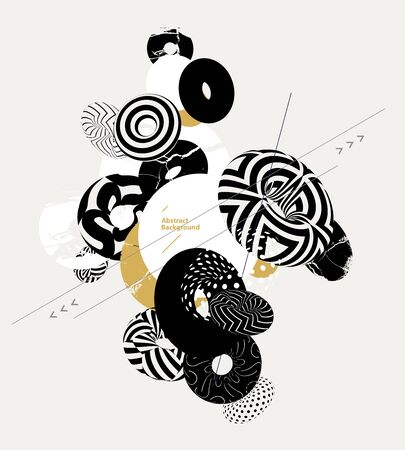 Composition of decorative rings. Abstract vector illustration.