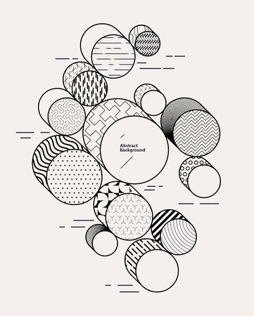 Abstract geometric composition with decorative circles Stock Illustratie