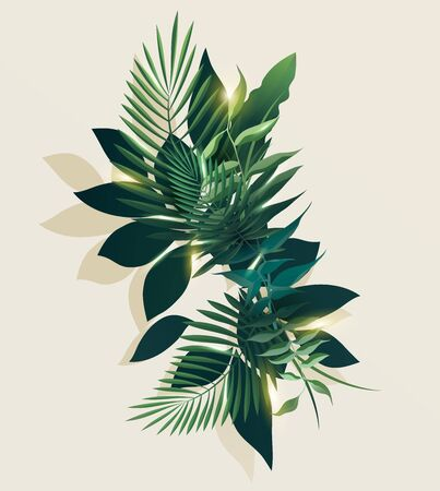 Tropical stylized leaves. Summer floral design