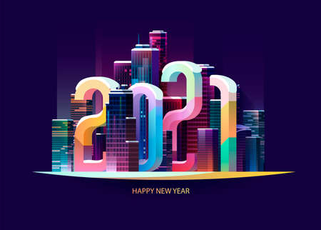 New year 2021. Colorful cityscape with big numbers. Greeting card design