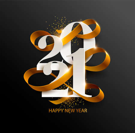 New Years 2021. Greeting card with date and ribbon on black background