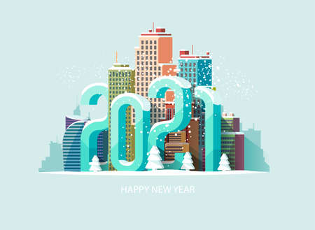 New year 2021. Cityscape with big numbers. Greeting card design Ilustrace