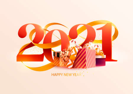 New Years 2021. Greeting card with date gold ribbon and gifts. Holiday illustration Vectores
