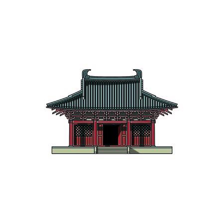 Chinese traditional architecture Illusztráció
