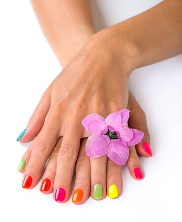 manicures: Woman hands with bright manicure