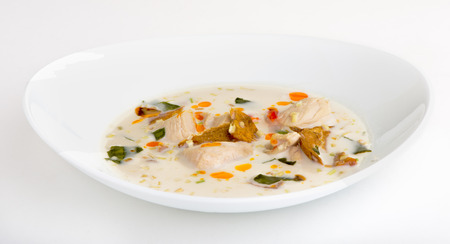 sour grass: Coconut milk soup with chicken and vegetables