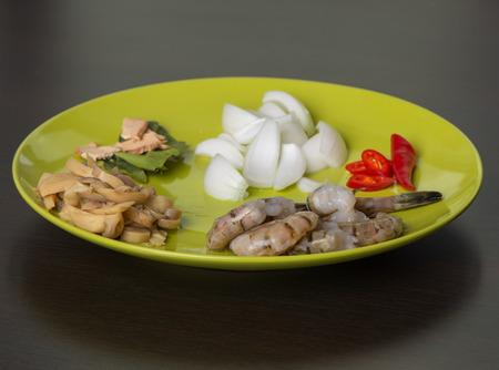 ingridients: thai seafood ingridients on the plate Stock Photo