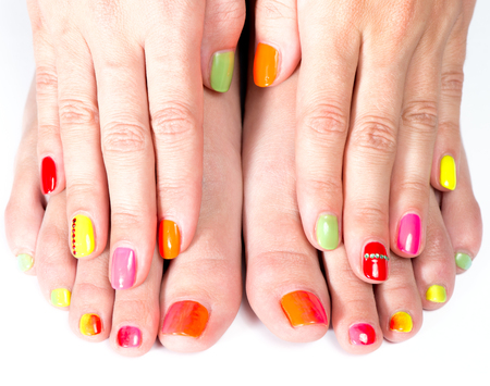 pedicure: Bright manicure and pedicure
