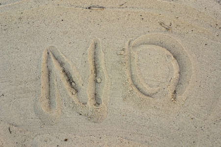 """The inscription """"No"""" on the sand"""