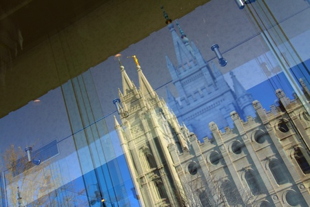 madeleine: The Double View of The Great Cathedral of the Madeleine at Salt Lake City Stock Photo