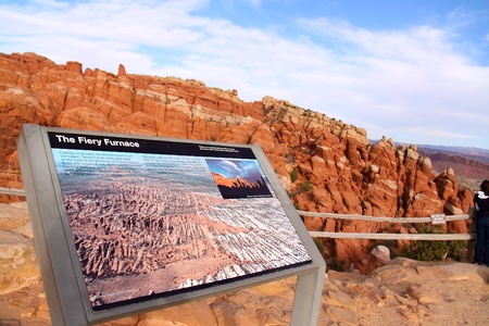 rock arch: Fiery Furnace View Point at Arches National Park, Utah Stock Photo