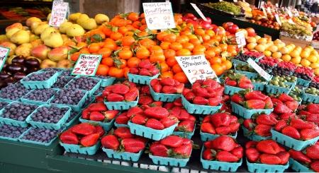 köylü: Pike Place Market, Seattle Taze Meyve Stok Fotoğraf