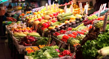 Verse producten op Pike Place Market, Seattle, WA