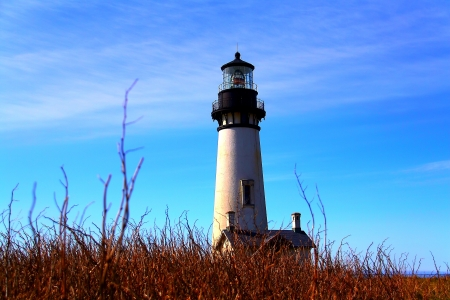 Great Lighthouse Ever, Yaquina Head Lighthouse at New Port, Oregon Reklamní fotografie