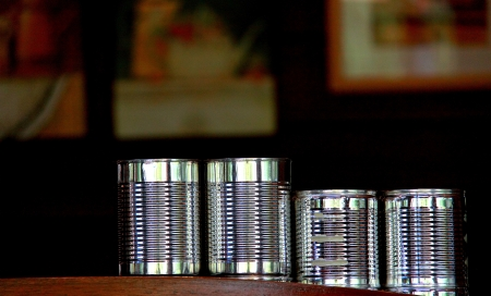 Empty Milk Cans in Coffee Cafe, Chiang Mai, Thailand photo