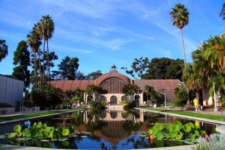 san   diego: The Reflection of Balboa s Pond in Balboa Park, San Diego, CA  Stock Photo