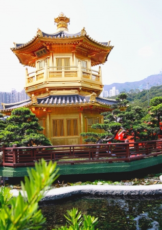 river scape: Nice Chinese Temple