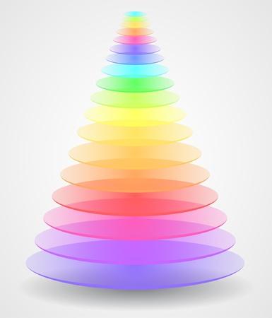 Color 3D pyramid Vector
