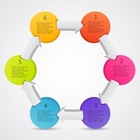 esquemas: Plantilla de proyecto con flechas circulares y �reas de texto Vectores