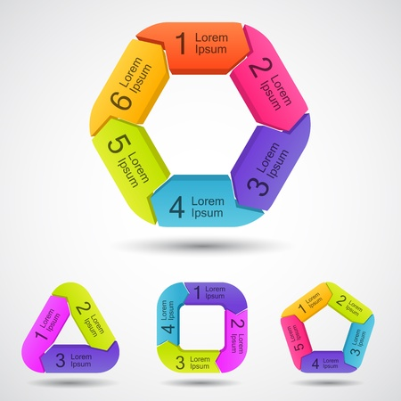 Plantilla de proyecto con flechas circulares y �reas de texto Vectores