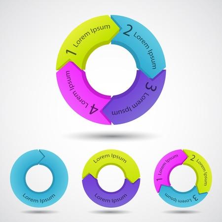 diagrama: Plantilla de proyecto con flechas circulares y �reas de texto Vectores