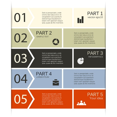 Business project template with arrows and text areas Vector