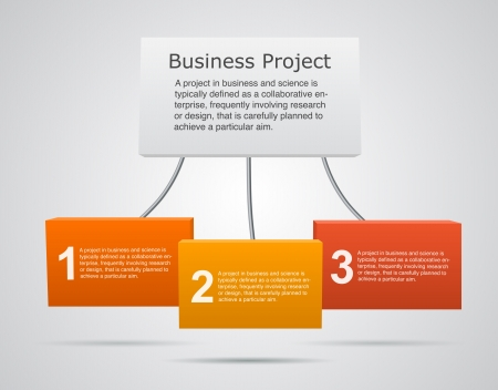 three colors: Business project template with text areas