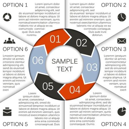 Business project sjabloon met pijlen en tekst gebieden Vector Illustratie