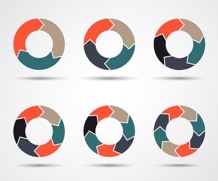 비즈니스 프리젠 테이션 동그라미 화살표에 대한 템플릿 설정 일러스트