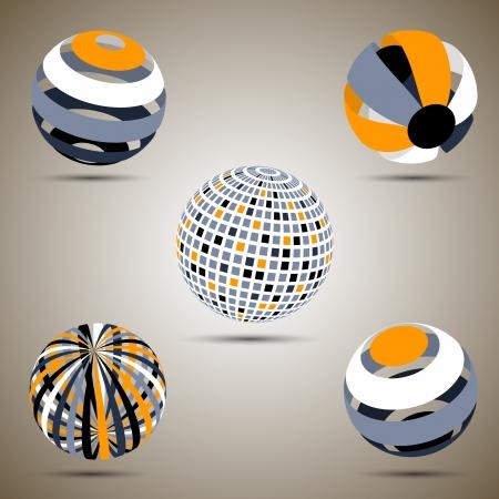 esfera: Esferas del color fijados Vectores