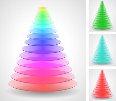 Color pyramids set Vector