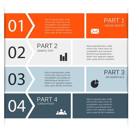 cuatro elementos: Opciones de diseño moderno se puede utilizar para la infografía Vectores