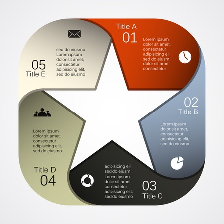 five stars: Layout for your options. Can be used for info graphic.