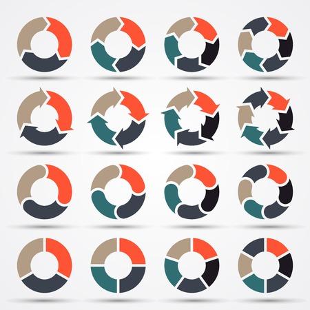 Vector cirkel pijlen voor zakelijke infographic, diagram, grafiek, tabel Stock Illustratie