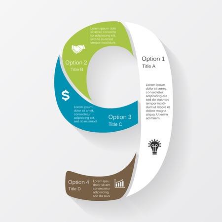 numero nueve: Vector negocio infografía, diagrama, presentación