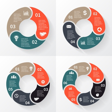 Vector cirkel pijlen voor infographic Stock Illustratie