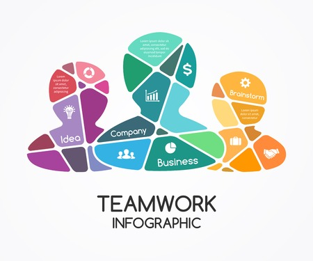 Vector teamwork infographic  Template for a partnership presentation  A business concept with a group of people  Social cooperation for success