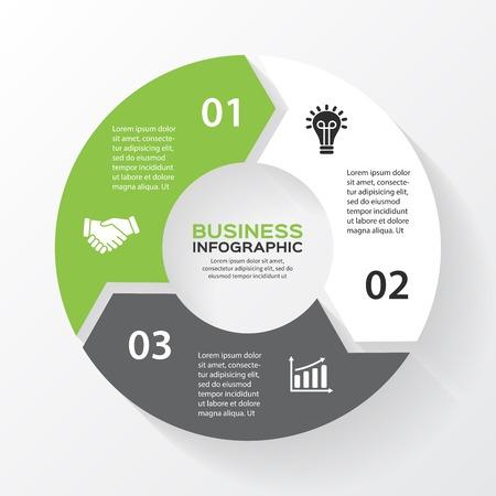 Flechas Vector círculo de infografía. Plantilla de diagrama, gráfico, presentación y gráfico. Concepto de negocio con 3 opciones, partes, etapas o procesos. Resumen de antecedentes.