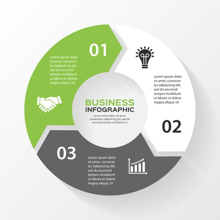 Vector circle arrows for infographic. Template for diagram, graph, presentation and chart. Business concept with 3 options, parts, steps or processes. Abstract background. Vettoriali