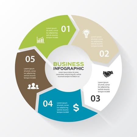 Vector cirkel pijlen voor infographic. Sjabloon voor het diagram, grafiek, presentatie en grafiek. Zakelijk concept met 5 opties, delen, stappen of processen. Abstracte achtergrond.