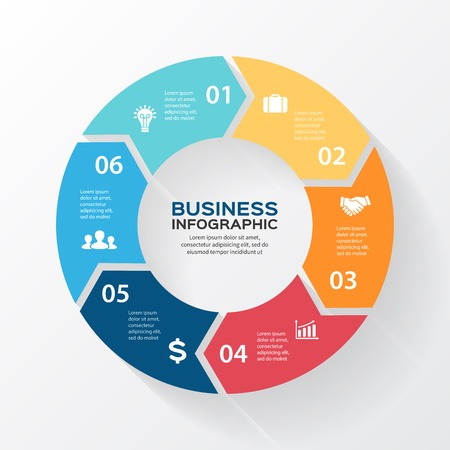 finances: Vector circle arrows for infographic. Template for diagram, graph, presentation and chart. Business concept with 6 options, parts, steps or processes. Abstract background. Illustration