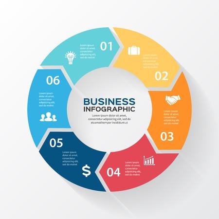 Vector cirkel pijlen voor infographic. Sjabloon voor het diagram, grafiek, presentatie en grafiek. Zakelijk concept met 6 opties, delen, stappen of processen. Abstracte achtergrond. Stock Illustratie