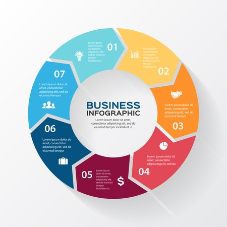 circle: Vector circle arrows for infographic. Template for diagram, graph, presentation and chart. Business concept with 7 options, parts, steps or processes. Abstract background.