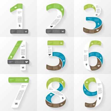 diagrama procesos: Vector de fuente infografía, diagrama, presentación. Los números 1, 2, 3, 4, 5, 6, 7, 8, 9 Concepto de negocio con opciones, partes, etapas o procesos.